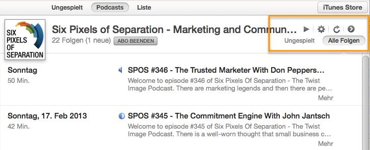 Podcast Episoden aktualisieren