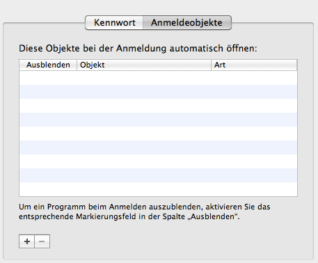 Anmeldeobjekte für Mac-User