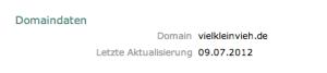 Domain angemeldet am 9. Juli 2012
