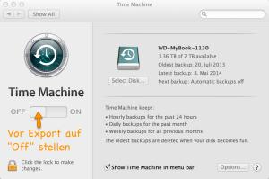 Für iMovie Export Time Machine deaktivieren