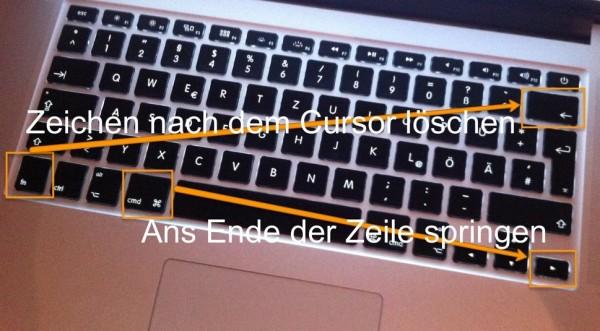 Auf dem Mac an das Ende der Zeile spingen