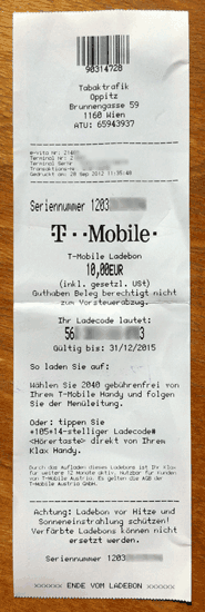T-Mobile Ladebon für Surf Klax