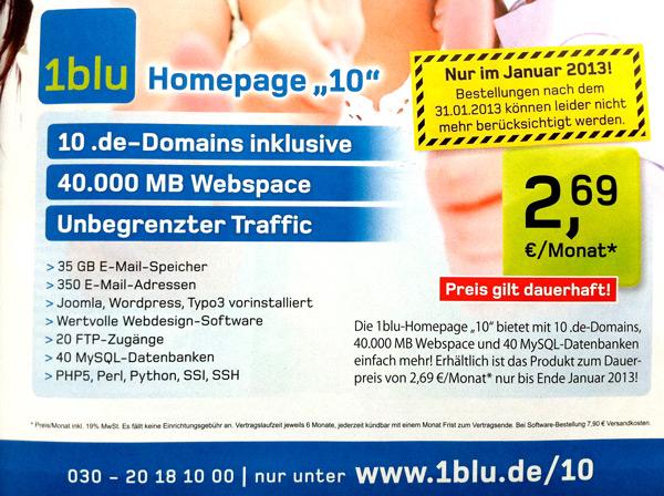 Domain kaufen bei 1blu.de/10