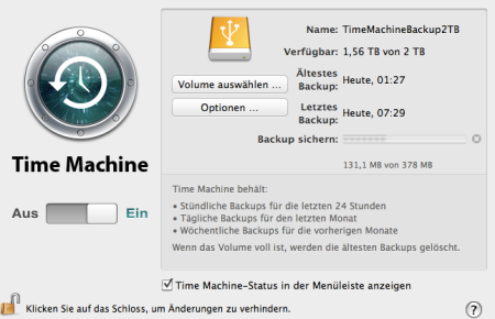 Datensicherung mit Time Machine
